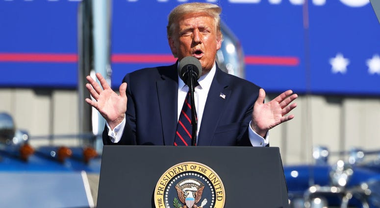 U.S. President Donald J. Trump speaks at his campaign rally on August 20, 2020 in Old Forge, Pennsylvania.
