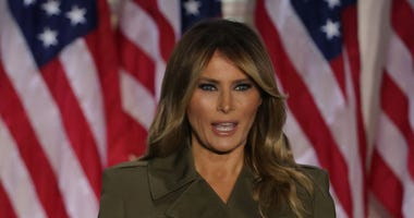 U.S. first lady Melania Trump addresses the Republican National Convention from the Rose Garden at the White House on August 25, 2020 in Washington, DC.