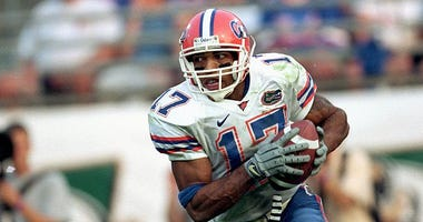 Reche Caldwell #17 of the Florida Gators carries the ball during the game against the Georgia Bulldogs at Alltel Stadium in Jacksonville on Oct. 28, 2000.