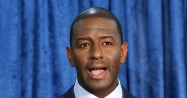Andrew Gillum, then-Democratic candidate for governor, speaks at a news conference in Tallahassee, Fla.