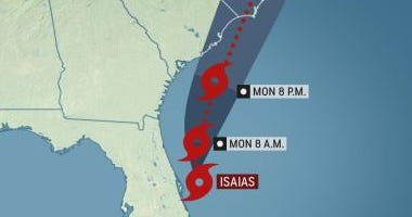 Tropical Storm Isaias Monday 8-3-20