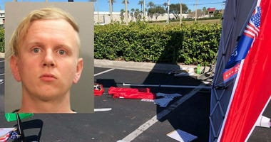 The Jacksonville Sheriff's Office said Gregory Timm has been charged with aggravated assault, criminal mischief and driving with a suspended license. According to witnesses, Timm drove a van through a tent where they were working to register voters.
