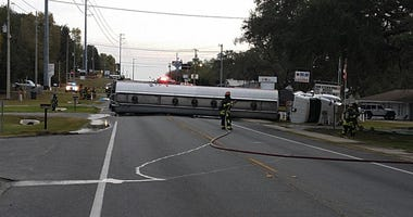 Fuel tanker overturns Tuesday March 10, 2020, closing SR-21