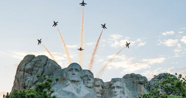 The Blue Angels performed a flyover at Mount Rushmore last night during the 2020 Mount Rushmore Fireworks Celebration.