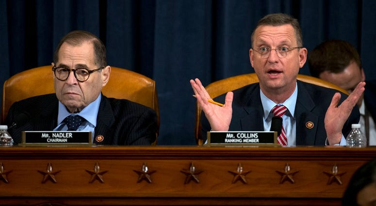 House Judiciary Committee Chairman Jerrold Nadler, (D-NY) listens as ranking member Rep. Doug Collins, R-Ga., speaks during a House Judiciary Committee markup of the articles of impeachment against President Donald Trump, on December 11, 2019.