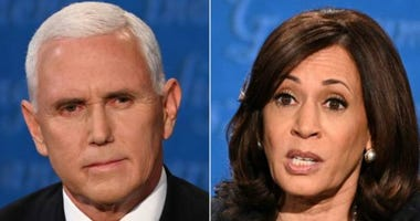 Democratic vice presidential nominee Sen. Kamala Harris (D-CA) and U.S. Vice President Mike Pence participate in the vice presidential debate moderated by Washington Bureau Chief for USA Today Susan Page (C) at the University of Utah on October 7, 2020.