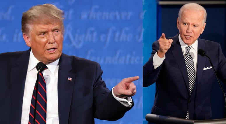 Pres. Donald Trump and Joe Biden participate in the first presidential debate against Democratic presidential nominee Joe Biden at the Health Education Campus of Case Western Reserve University on Sept. 29, 2020