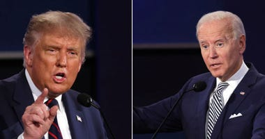 U.S. President Donald Trump participates in the first presidential debate against Democratic presidential nominee Joe Biden at the Health Education Campus of Case Western Reserve University on September 29, 2020 in Cleveland, Ohio.