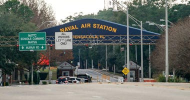 The Pensacola Naval Air Station main gate following a shooting on December 06, 2019 in Pensacola, Florida. The second shooting on a U.S. Naval Base in a week has left three dead plus the suspect and seven people wounded.