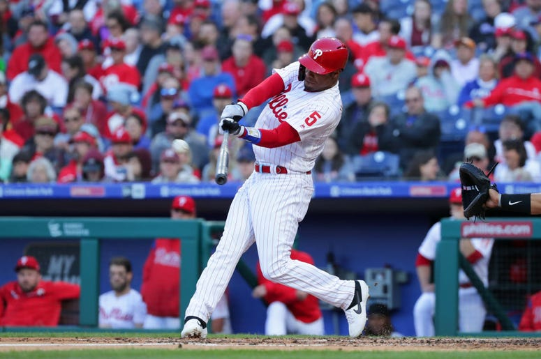 PHILADELPHIA, PA - APRIL 27: Nick Williams #5 of the Philadelphia Phillies hits a solo home run in the second inning during a game against the Miami Marlins at Citizens Bank Park on April 27, 2019 in Philadelphia, Pennsylvania.