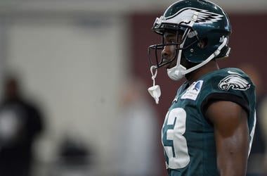 MINNEAPOLIS, MN - FEBRUARY 02: Nelson Agholor #13 of the Philadelphia Eagles looks on during Super Bowl LII practice on February 2, 2018 at the University of Minnesota in Minneapolis, Minnesota.