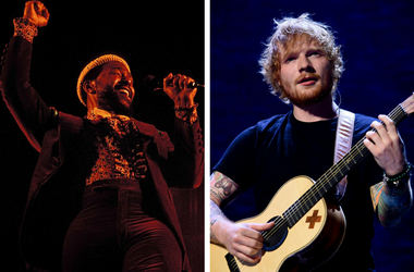 Nov 1974; File Photo; USA; Marvin Gaye performs. / Sept 9, 2015; Miami, FL, USA; Ed Sheeran performs at American Airlines Arenal.