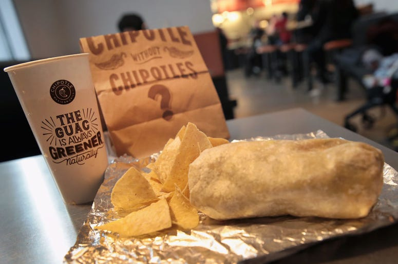 Food is served at a Chipotle restaurant on October 25, 2017 in Chicago, Illinois. Chipotle stock fell more than 14 percent today after a weak 3Q earnings.