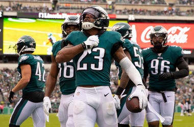 Rodney McLeod #23 of the Philadelphia Eagles reacts after intercepting a pass in the second quarter against the New York Jets at Lincoln Financial Field on October 6, 2019 in Philadelphia, Pennsylvania. The Eagles defeated the Jets 31-6.