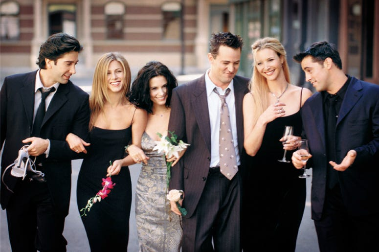 "Cast Members Of NBC's Comedy Series ""Friends."" Pictured (L To R): David Schwimmer As Ross Geller, Jennifer Aniston As Rachel Cook, Courteney Cox As Monica Geller, Matthew Perry As Chandler Bing, Lisa Kudrow As Phoebe Buffay And Matt Leblanc As Joey Tribbi"