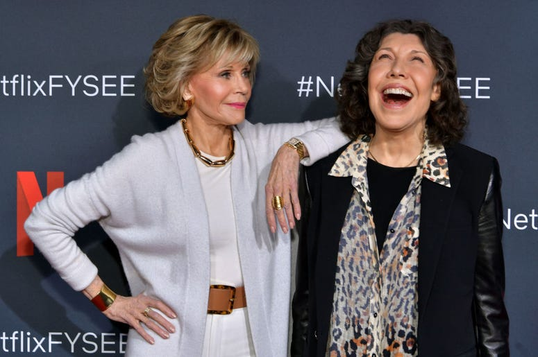 "Jane Fonda and Lily Tomlin attend the Netflix FYSEE ""Grace and Frankie"" ATAS Official Red Carpet and Panel at Raleigh Studios on May 18, 2019 in Los Angeles, California."