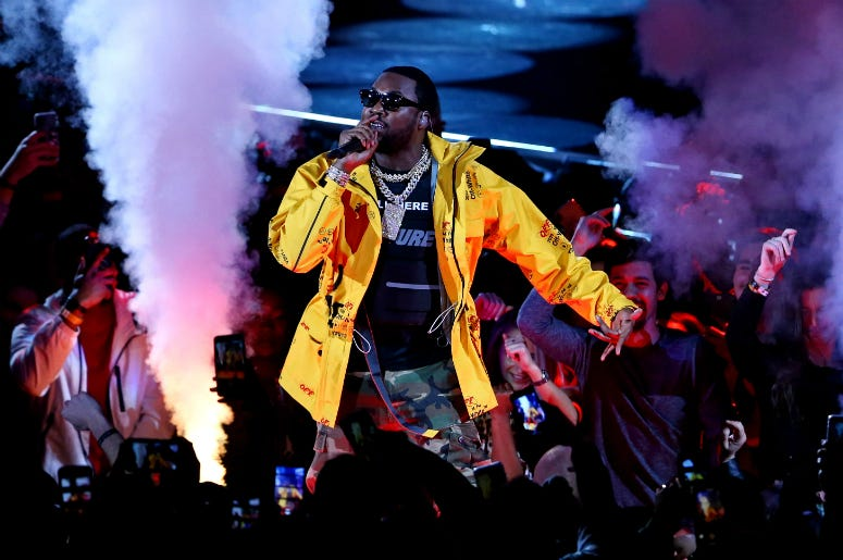 Feb 17, 2019; Charlotte, NC, USA; Recording artist Meek Mill performs before the 2019 NBA All-Star Game at Spectrum Center. Mandatory Credit: Jeremy Brevard-USA TODAY Sports