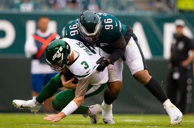 Derek Barnett #96 of the Philadelphia Eagles sacks David Fales #3 of the New York Jets in the fourth quarter at Lincoln Financial Field on October 6, 2019 in Philadelphia, Pennsylvania. The Eagles defeated the Jets 31-6.