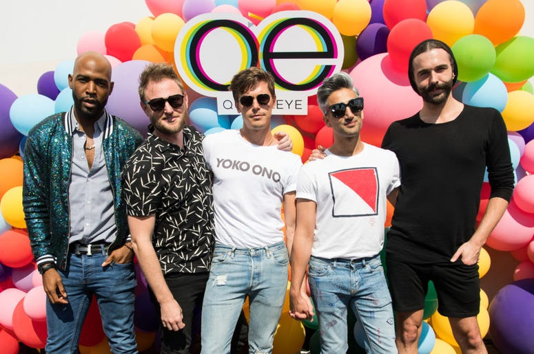 Karamo Brown, Bobby Berk, Antoni Porowski, Tan France and Jonathan Van Ness attend Netflix's 'Queer Eye' Celebrates 4 Emmy Nominations with GLSEN at NeueHouse Hollywood on August 12, 2018 in Los Angeles, California.