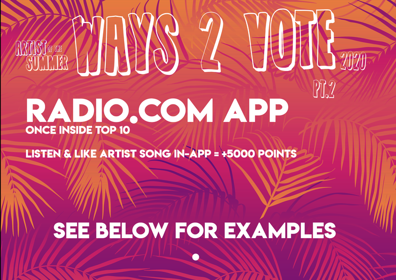 2020 Artist of the Summer - Ways 2 Vote - How To Vote