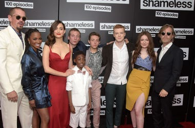 """Steve Howey, Shanola Hampton, Emmy Rossum, Jeremy Allen White, Christian Isaiah, Ethan Cutkowsky, Cameron Monaghan, Emma Kenney and William H. Macy attend the celebration of the 100th episode of Showtime's """"Shameless"""" at DREAM Hollywood on June 9, 2018 in"""