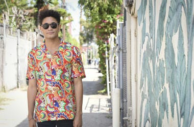 VENICE, CA - JULY 27: BTS with Bryce Vine as he shoots his episode of The Sound Drop with Pepsi on July 27, 2018 in Venice, California.