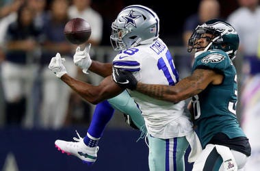 Randall Cobb #18 of the Dallas Cowboys attempts to make a catch against #38 of the Philadelphia Eagles during the first half in the game on October 20, 2019 in Arlington, Texas.
