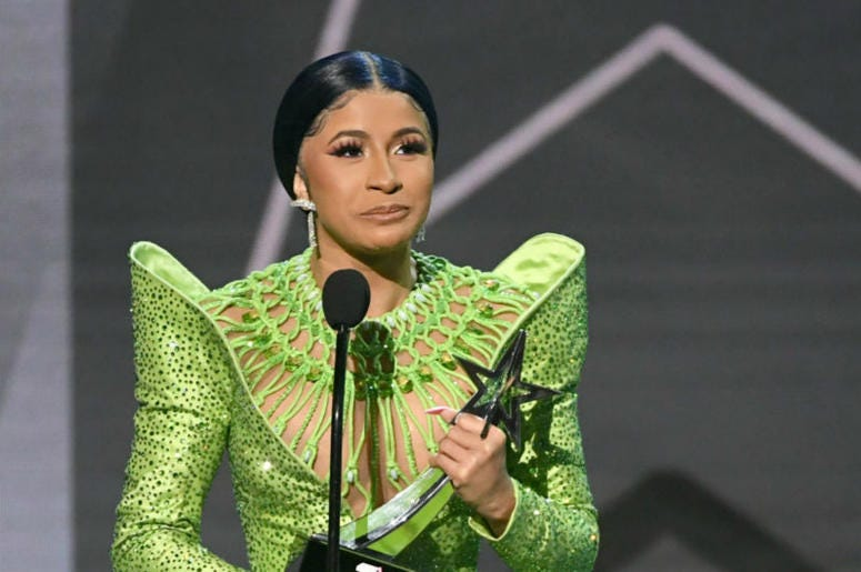 Cardi B accepts Album of the Year onstage at the 2019 BET Awards on June 23, 2019 in Los Angeles, California.