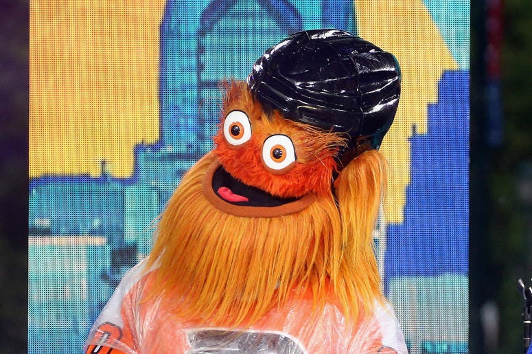 """PHILADELPHIA, PA - JUNE 13: Philadelphia Flyers mascot Gritty attends ABC's """"Good Morning America"""" Live From Philadelphia broadcast at the steps of the Philadelphia Art Museum on June 13, 2019 in Philadelphia, Pennsylvania."""