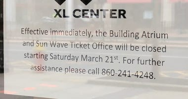 Closing notice at Hartford's XL Center