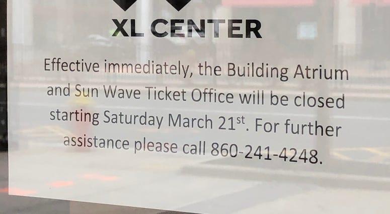 Closing notice at Hartford's XL Center