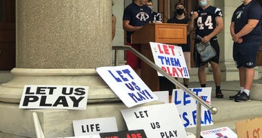 Students from Avon, CT protest CIAC's decision to cancel fall football, Sept. 9, 2020 at the CT State Capitol