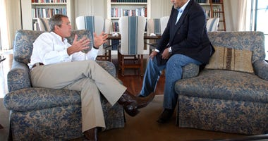 President George W. Bush meets with Prince Bandar bin Sultan, the Saudi Arabian ambassador, August 27, 2002 at Bush's Ranch in Crawford, Texas. Bush promised to consult Saudi Arabia and others as he reaches a decision about whether to attack Iraq.