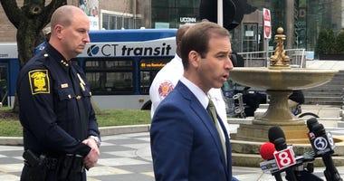 Hartford Mayor Luke Bronin outside City Hall, 3/19/20