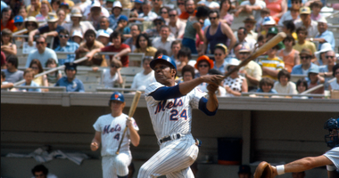 NEW YORK - CIRCA 1973: Outfielder Willie Mays #24 of the New York Mets bats during an Major League Baseball game circa 1973 at Shea Stadium in the Queens borough of New York City. Mays played for the Mets from 1972-73.