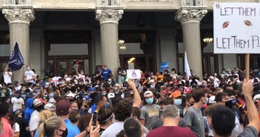 CT high school football players, families, coaches rally at the State Capitol, 9/9/20. They're seeking reversal of CIAC's cancellation of season.