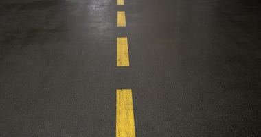 Yellow lines on roadway