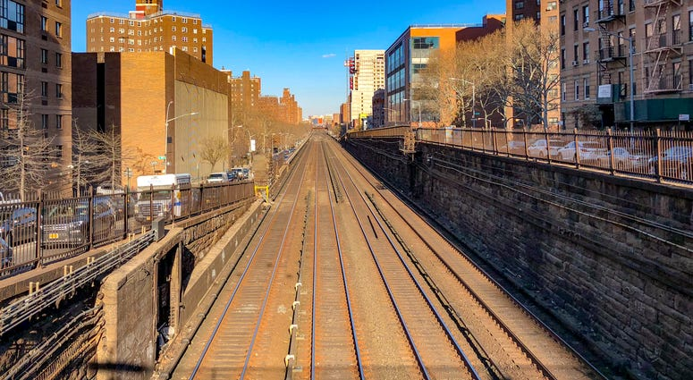 Metro-North Railway Line in Manhattan as they go from below to above ground at East 97th Street in New York City