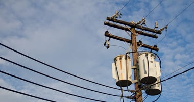 Utility Pole against blue sky