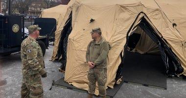 25-bed medical tent set up outside St. Francis Hospital, Hartford, 3/24/20