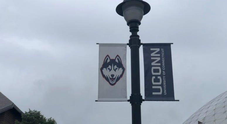 UConn Logos on Street Light Post