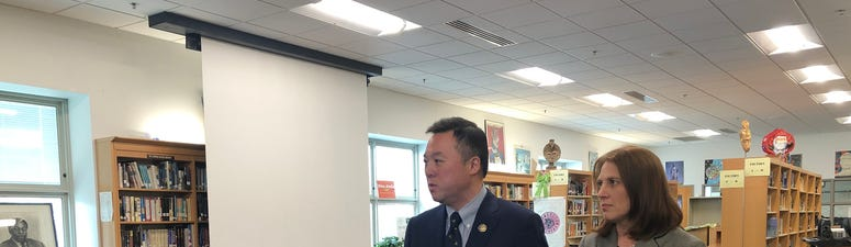 Attorney General William Tong in Hillhouse High School, New Haven