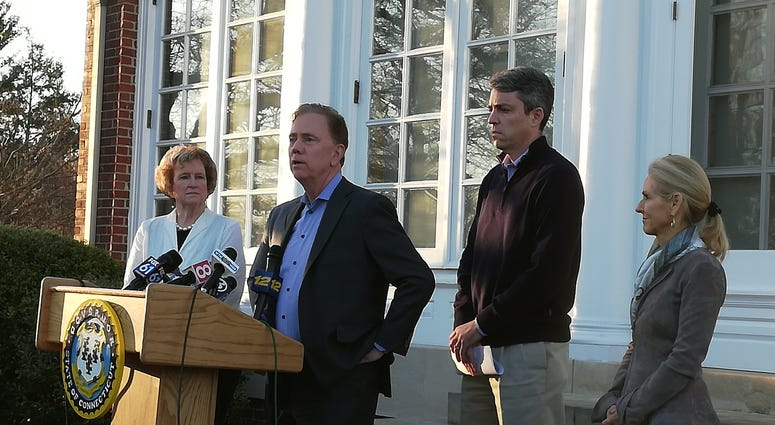 Governor Ned Lamont Speaking Outside The Governor's Residence