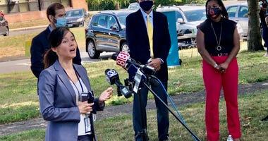 Hartford Public Schools Supt. Dr. Leslie Torres-Rodriguez, at the Wish School, 8/18/20
