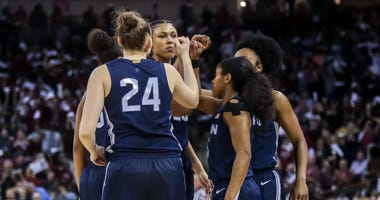 Feb 10, 2020; Columbia, South Carolina, USA; UConn Huskies players huddle before their game against the South Carolina Gamecocks at Colonial Life Arena.