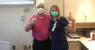 Jay Bialkowski, Patient (Left) and Katie Zimmerli, OTR/L, Gaylord Hospital (Right)