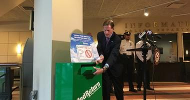 Senator Richard Blumenthal Demonstrating A Drug Disposal Box