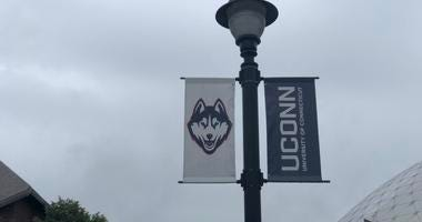 UConn Logos on Street Light Post