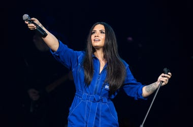 Demi Lovato performs in February of 2018