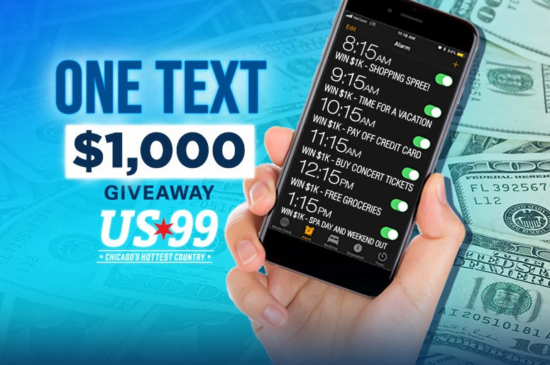 one text one thousand dollars